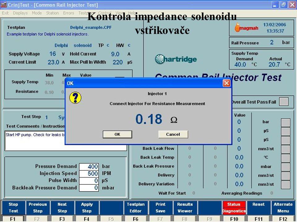 Kontrola impedance solenoidu vstřikovače