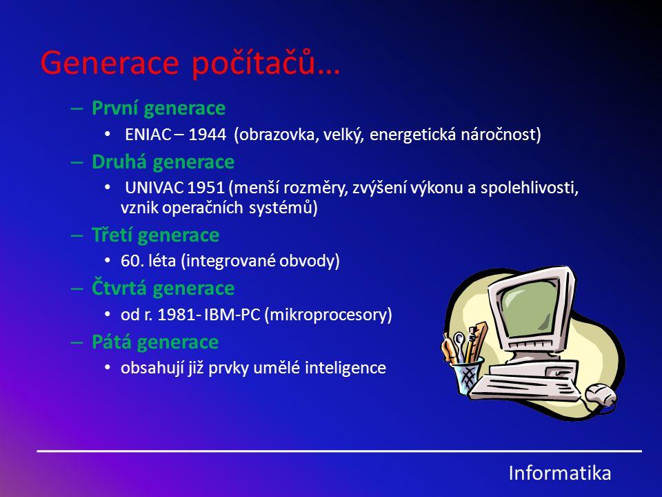 Generace počítačů… První generace Druhá generace Třetí generace