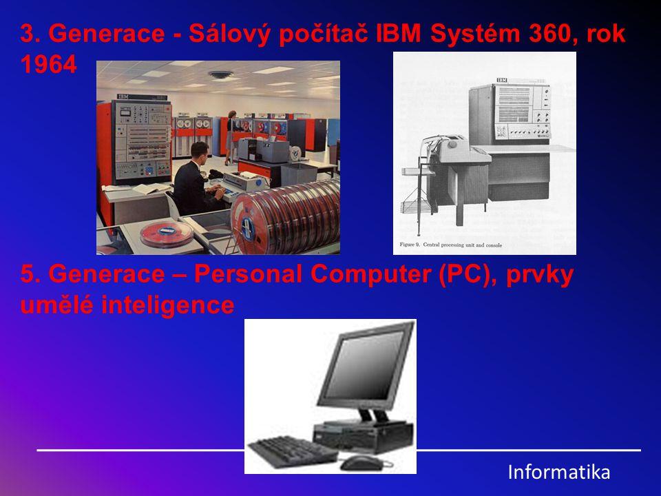3. Generace - Sálový počítač IBM Systém 360, rok 1964