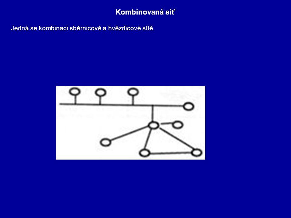 Kombinovaná síť Jedná se kombinaci sběrnicové a hvězdicové sítě.