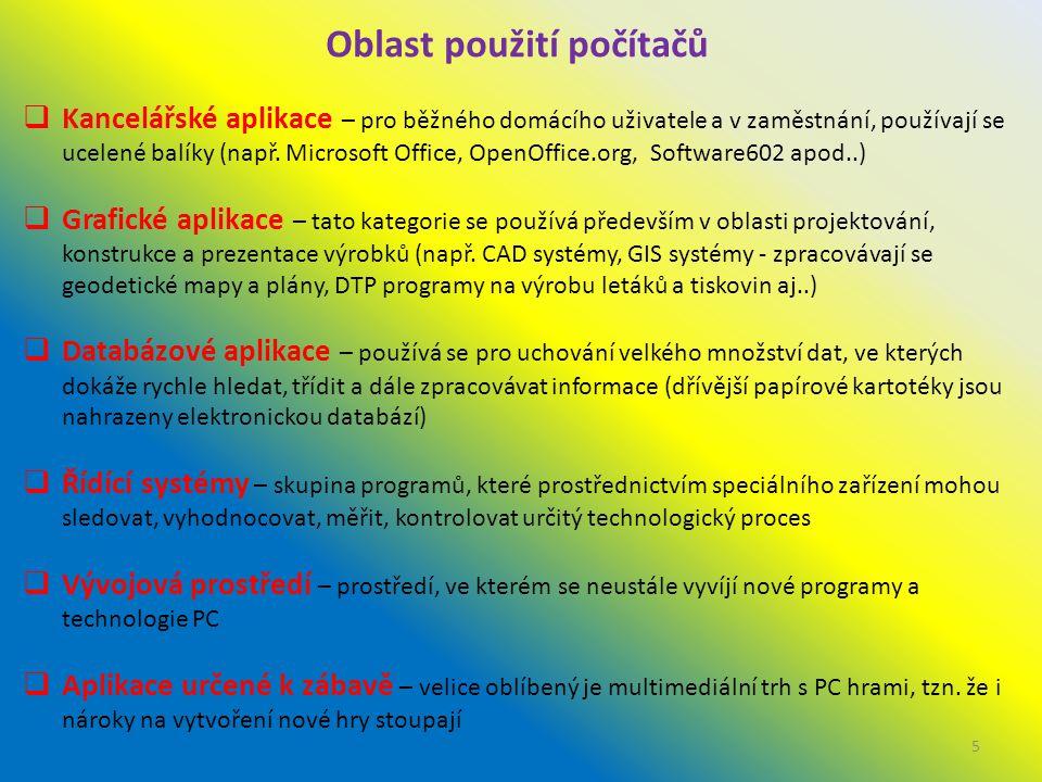 Oblast použití počítačů