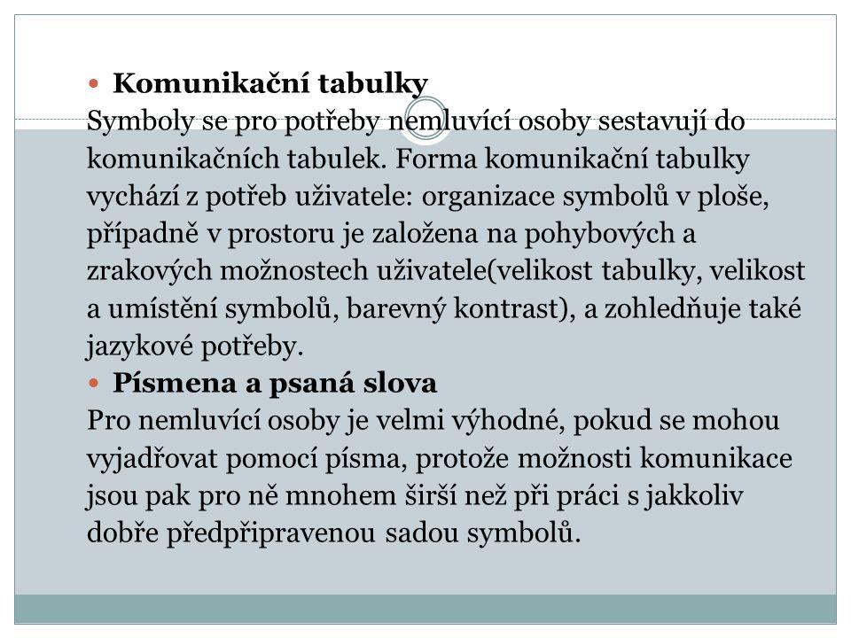Komunikační tabulky Symboly se pro potřeby nemluvící osoby sestavují do. komunikačních tabulek. Forma komunikační tabulky.