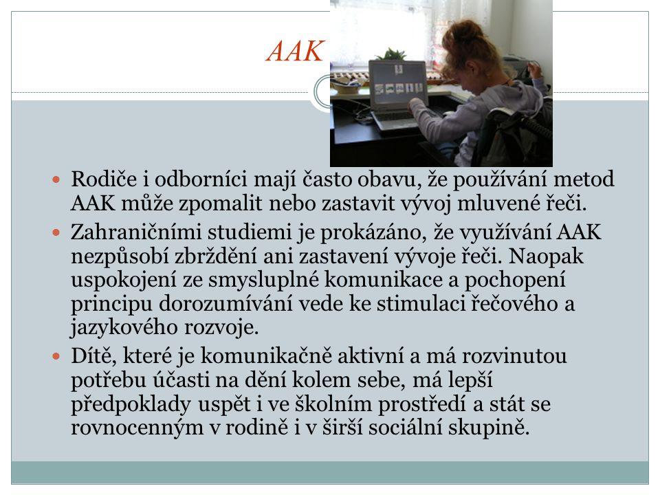 AAK a řeč Rodiče i odborníci mají často obavu, že používání metod AAK může zpomalit nebo zastavit vývoj mluvené řeči.