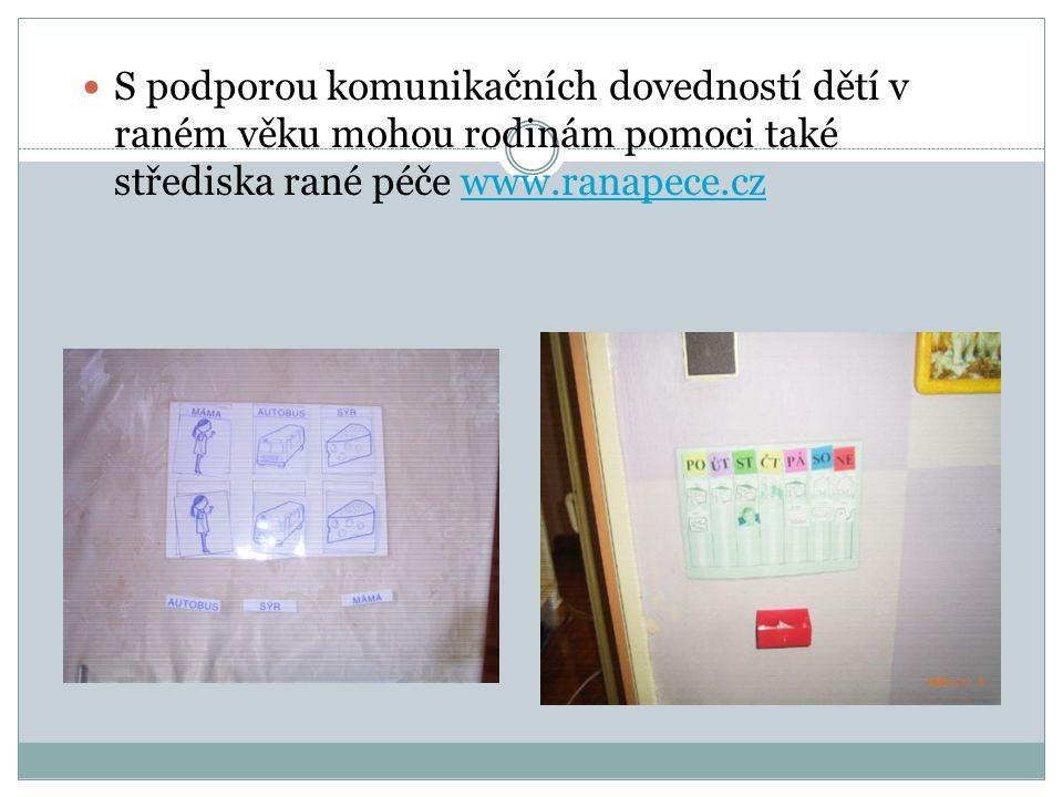 S podporou komunikačních dovedností dětí v raném věku mohou rodinám pomoci také střediska rané péče www.ranapece.cz