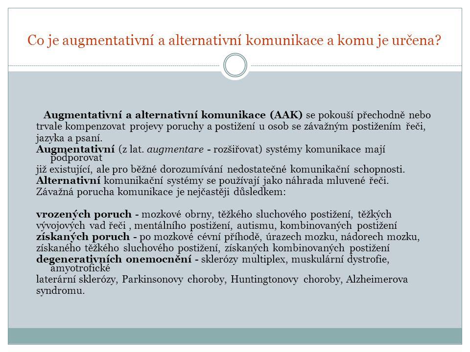 Co je augmentativní a alternativní komunikace a komu je určena