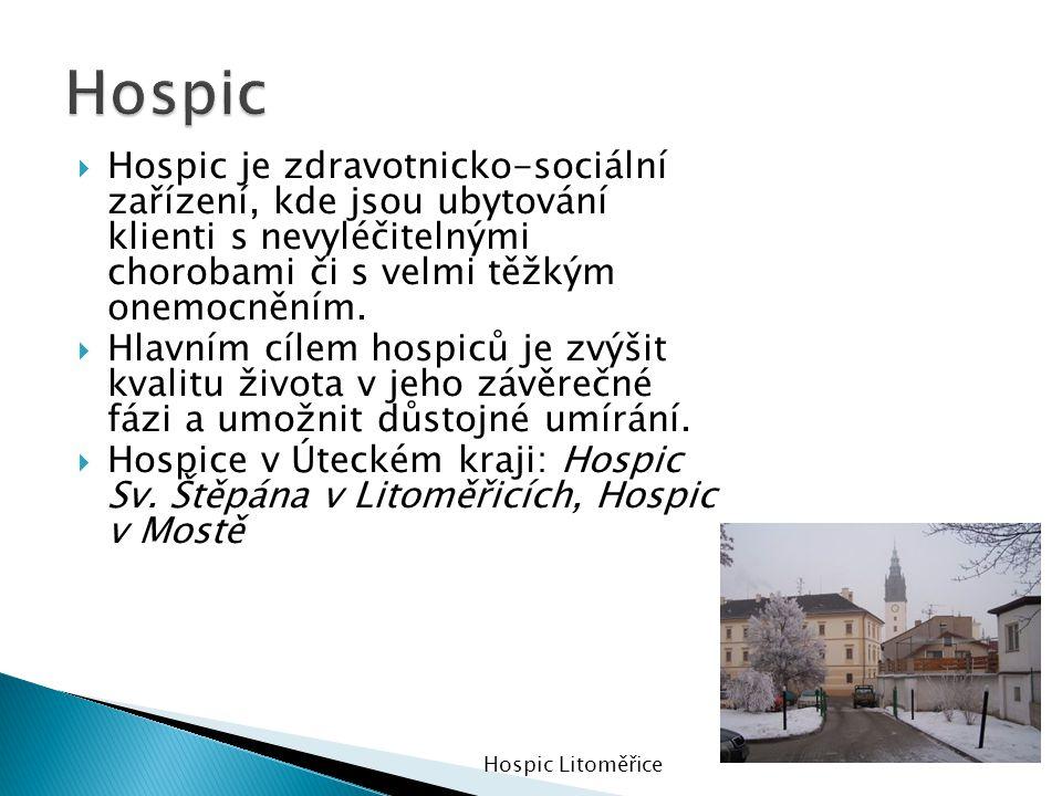 Hospic Hospic je zdravotnicko-sociální zařízení, kde jsou ubytování klienti s nevyléčitelnými chorobami či s velmi těžkým onemocněním.