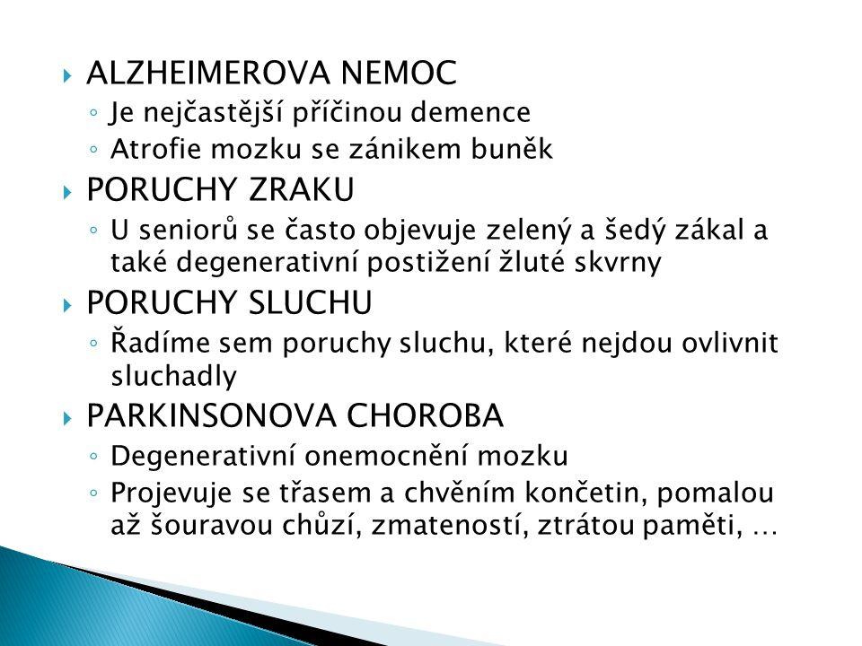 ALZHEIMEROVA NEMOC PORUCHY ZRAKU PORUCHY SLUCHU PARKINSONOVA CHOROBA