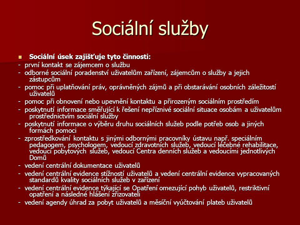 Sociální služby Sociální úsek zajišťuje tyto činnosti: