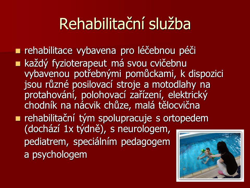Rehabilitační služba rehabilitace vybavena pro léčebnou péči