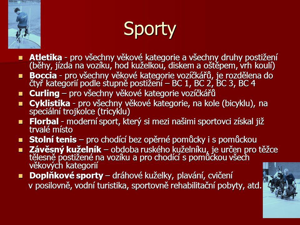 Sporty Atletika - pro všechny věkové kategorie a všechny druhy postižení (běhy, jízda na vozíku, hod kuželkou, diskem a oštěpem, vrh koulí)