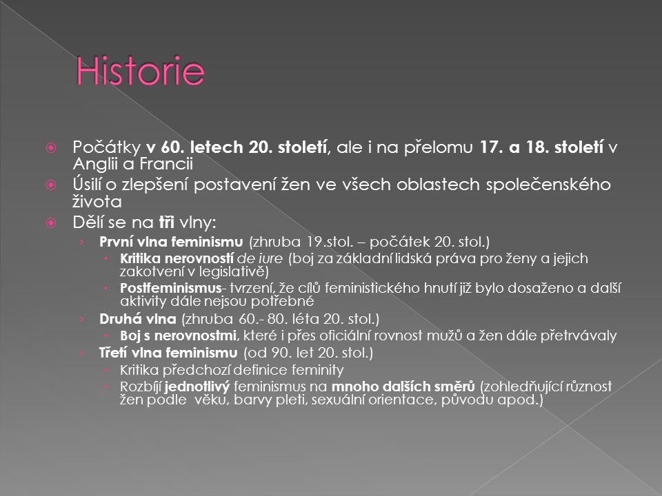 Historie Počátky v 60. letech 20. století, ale i na přelomu 17. a 18. století v Anglii a Francii.