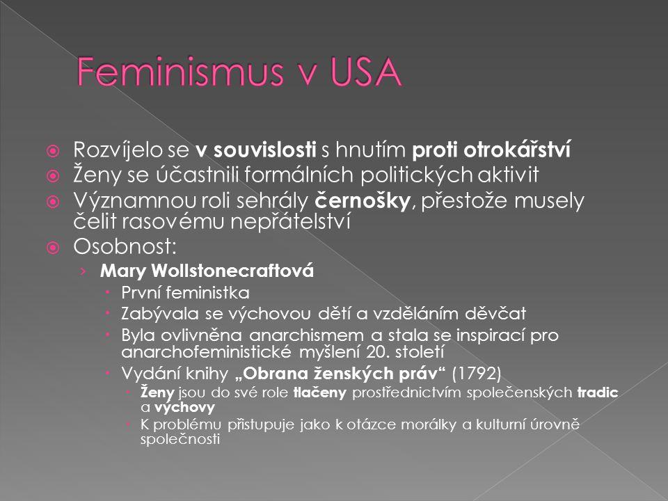 Feminismus v USA Rozvíjelo se v souvislosti s hnutím proti otrokářství