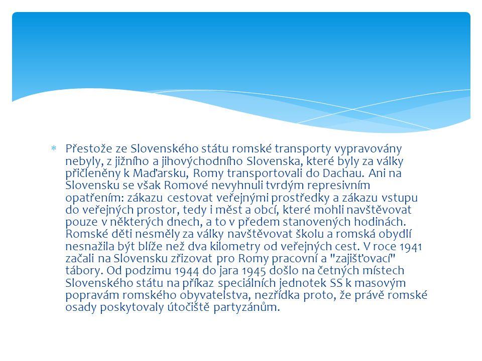 Přestože ze Slovenského státu romské transporty vypravovány nebyly, z jižního a jihovýchodního Slovenska, které byly za války přičleněny k Maďarsku, Romy transportovali do Dachau.
