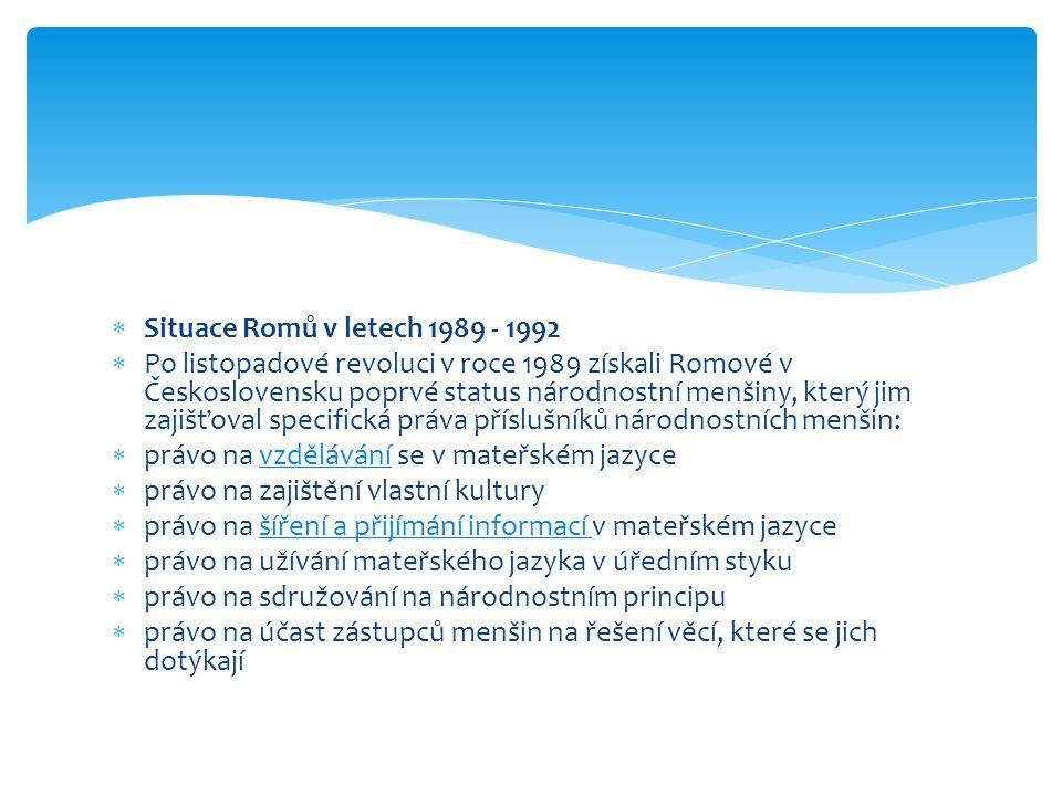 Situace Romů v letech 1989 - 1992