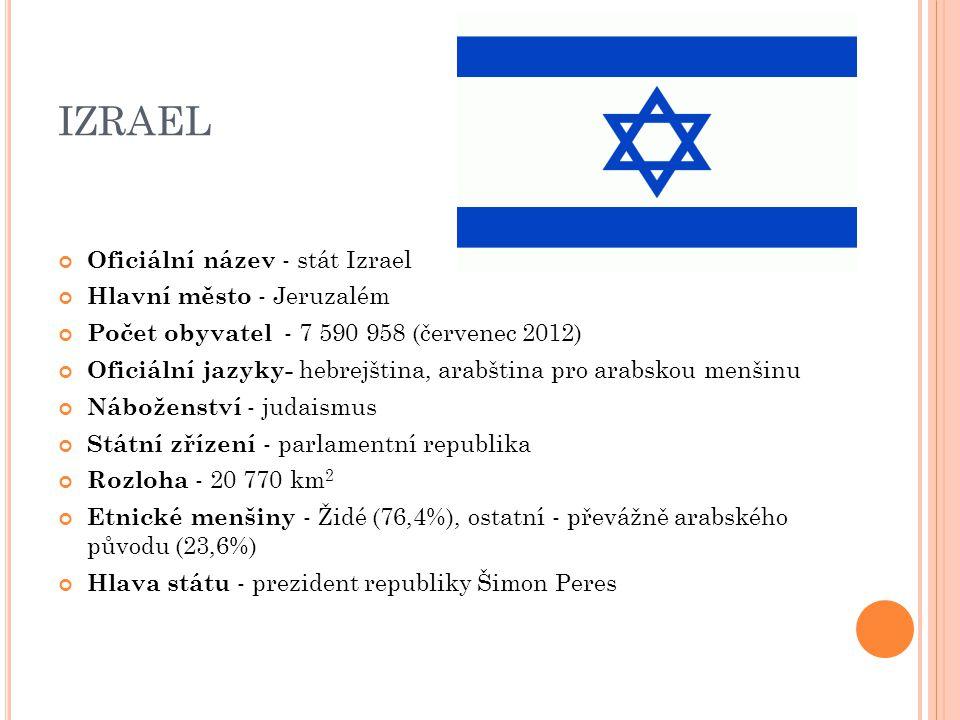 IZRAEL Oficiální název - stát Izrael Hlavní město - Jeruzalém