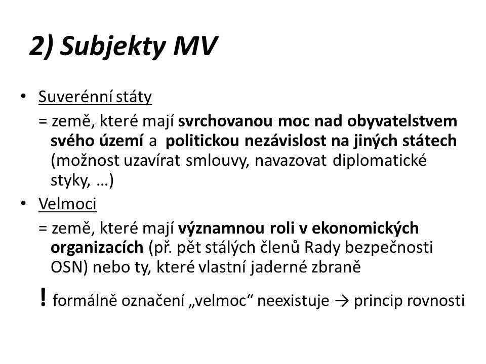 2) Subjekty MV Suverénní státy