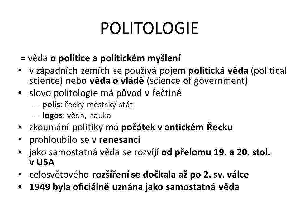 POLITOLOGIE = věda o politice a politickém myšlení