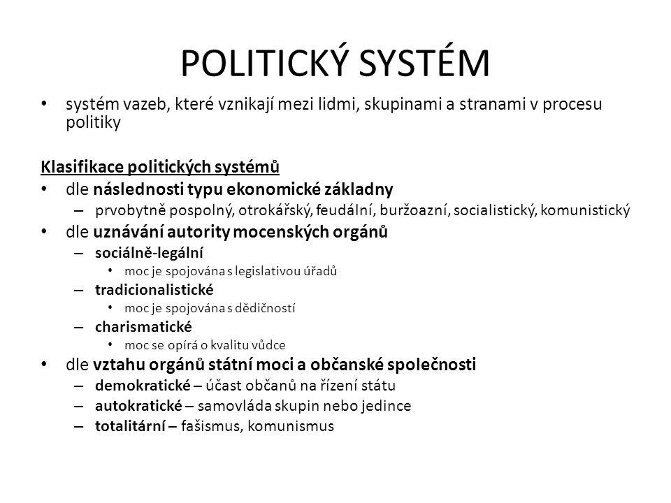 POLITICKÝ SYSTÉM systém vazeb, které vznikají mezi lidmi, skupinami a stranami v procesu politiky. Klasifikace politických systémů