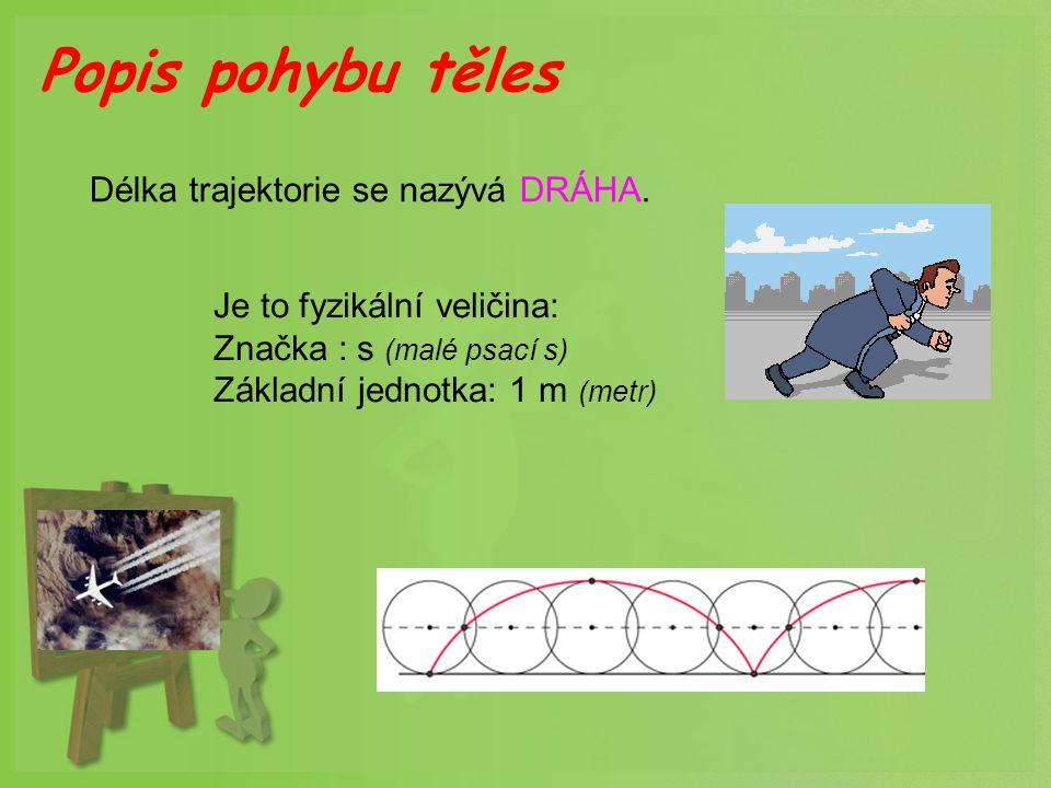 Popis pohybu těles Délka trajektorie se nazývá DRÁHA.