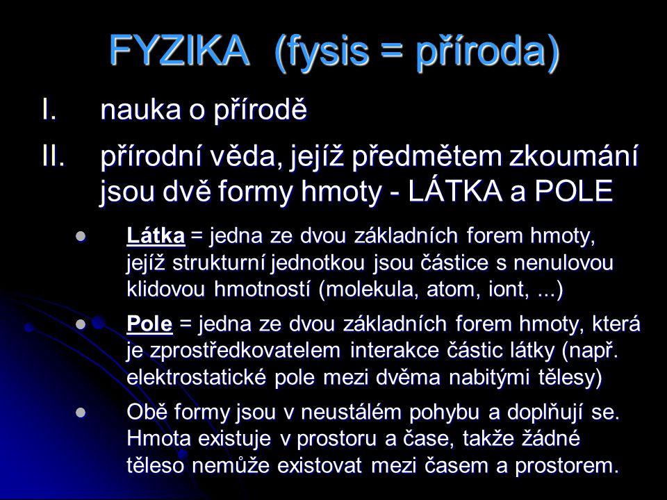 FYZIKA (fysis = příroda)