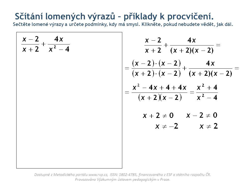 Sčítání lomených výrazů – příklady k procvičení.