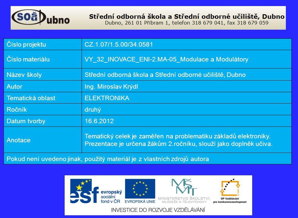 Číslo projektu CZ.1.07/1.5.00/34.0581. Číslo materiálu. VY_32_INOVACE_ENI-2.MA-05_Modulace a Modulátory.