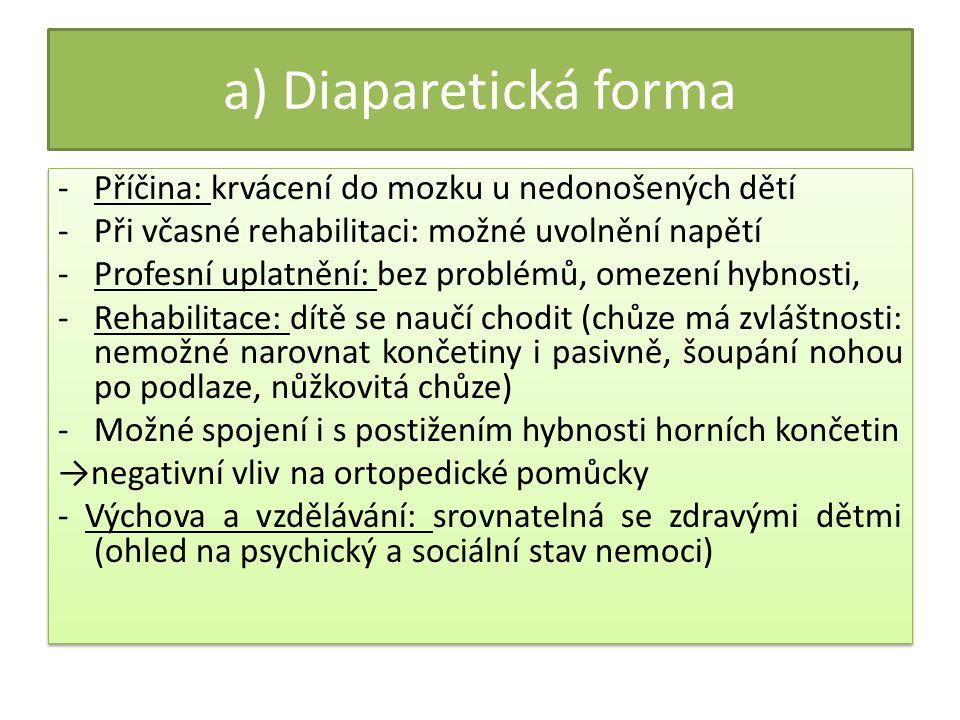 a) Diaparetická forma Příčina: krvácení do mozku u nedonošených dětí