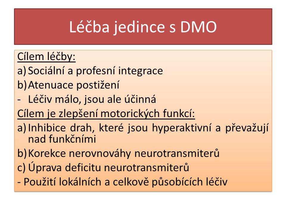 Léčba jedince s DMO Cílem léčby: Sociální a profesní integrace