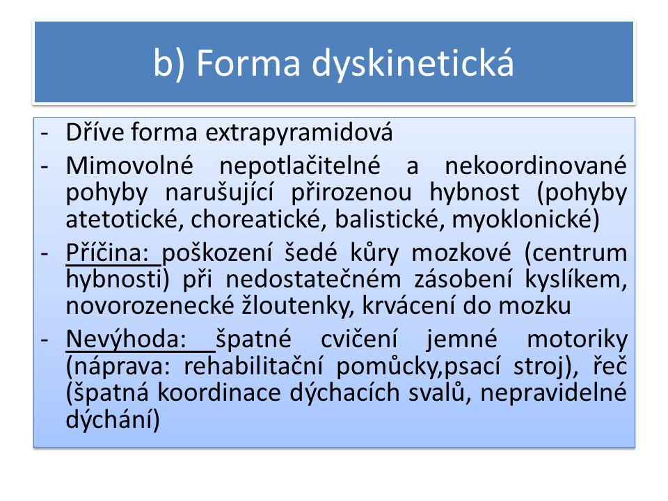 b) Forma dyskinetická Dříve forma extrapyramidová