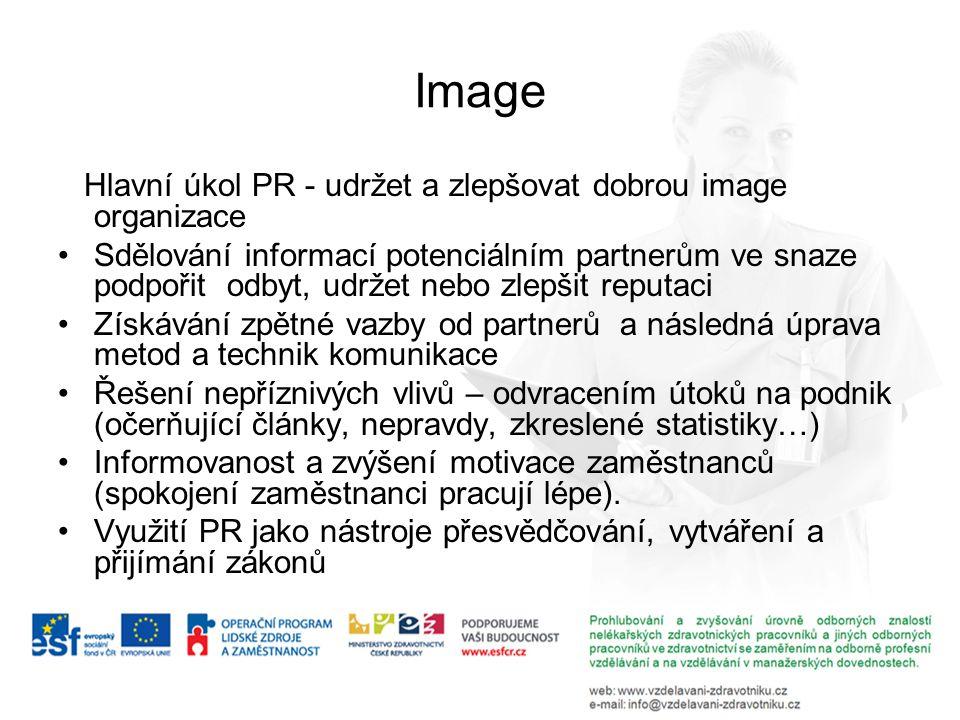 Image Hlavní úkol PR - udržet a zlepšovat dobrou image organizace