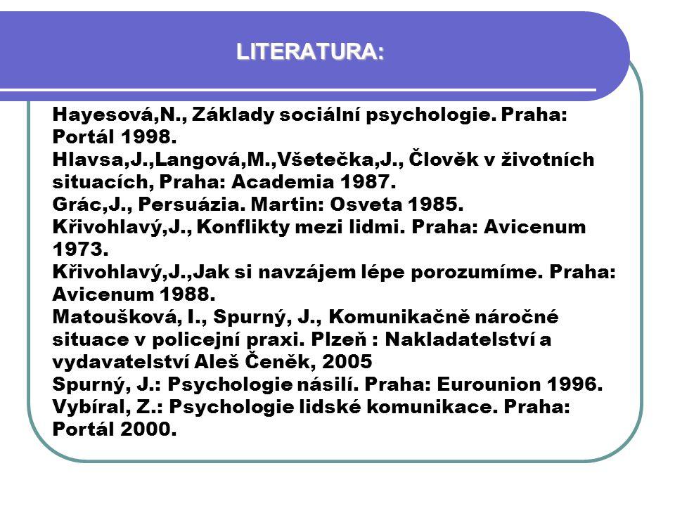 LITERATURA: Hayesová,N., Základy sociální psychologie. Praha: Portál 1998.
