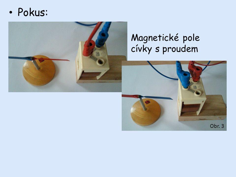 Pokus: Magnetické pole cívky s proudem Obr. 3
