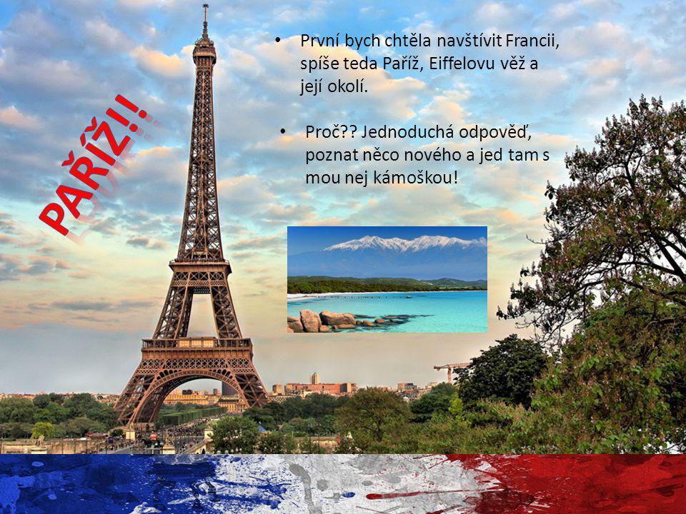 První bych chtěla navštívit Francii, spíše teda Paříž, Eiffelovu věž a její okolí.