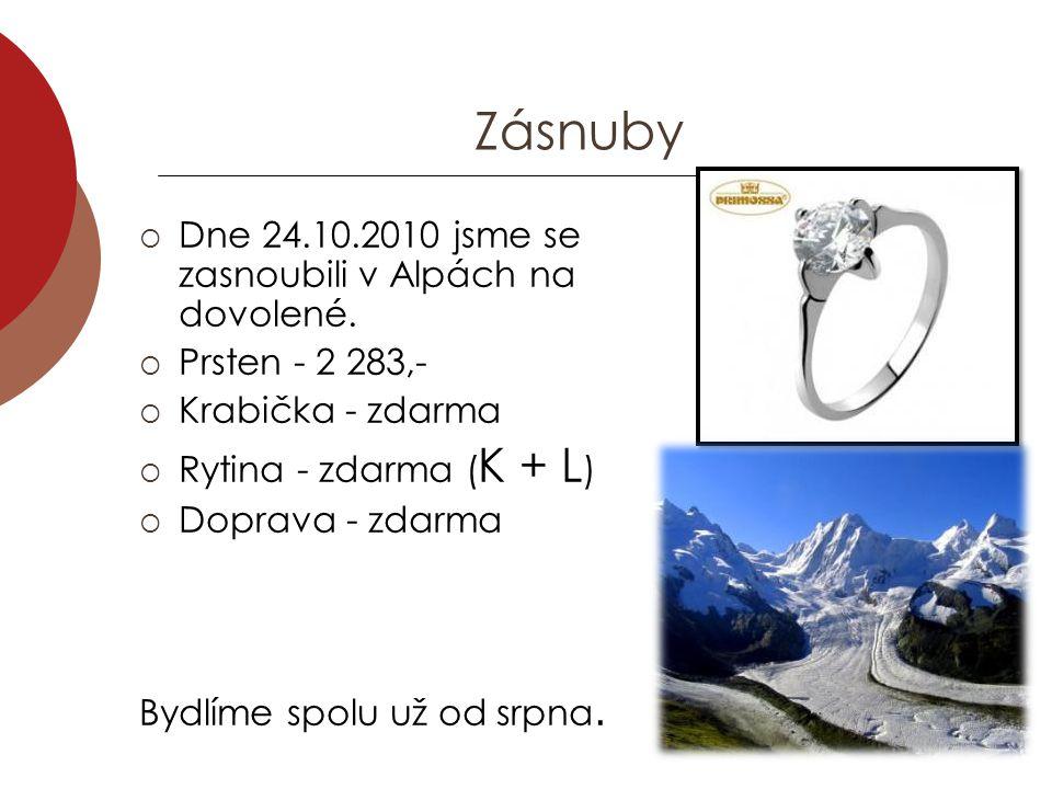 Zásnuby Dne 24.10.2010 jsme se zasnoubili v Alpách na dovolené.