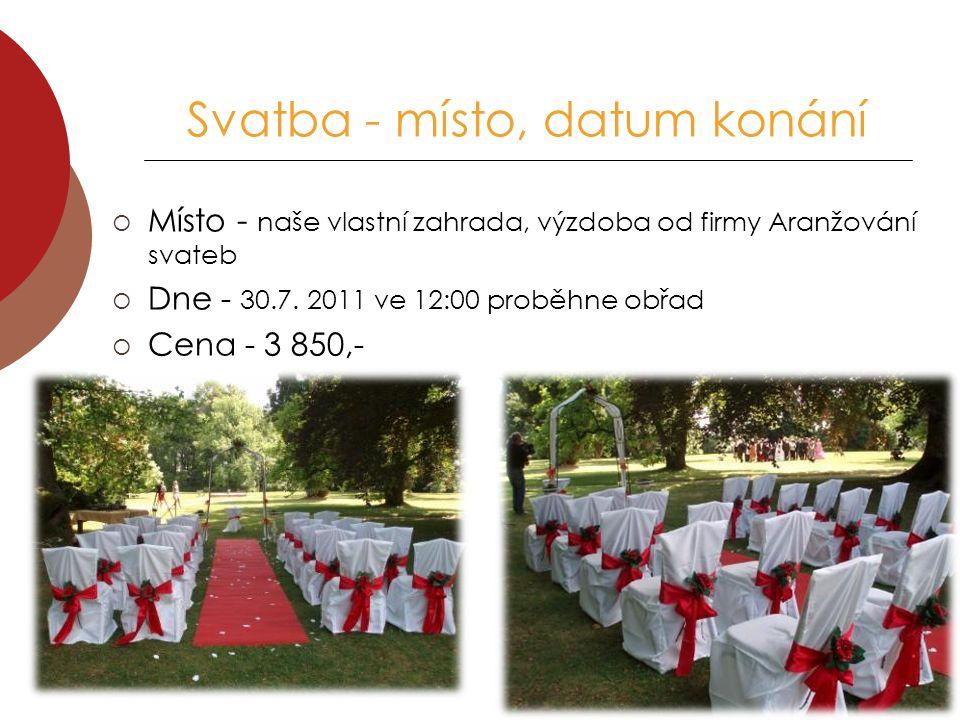 Svatba - místo, datum konání