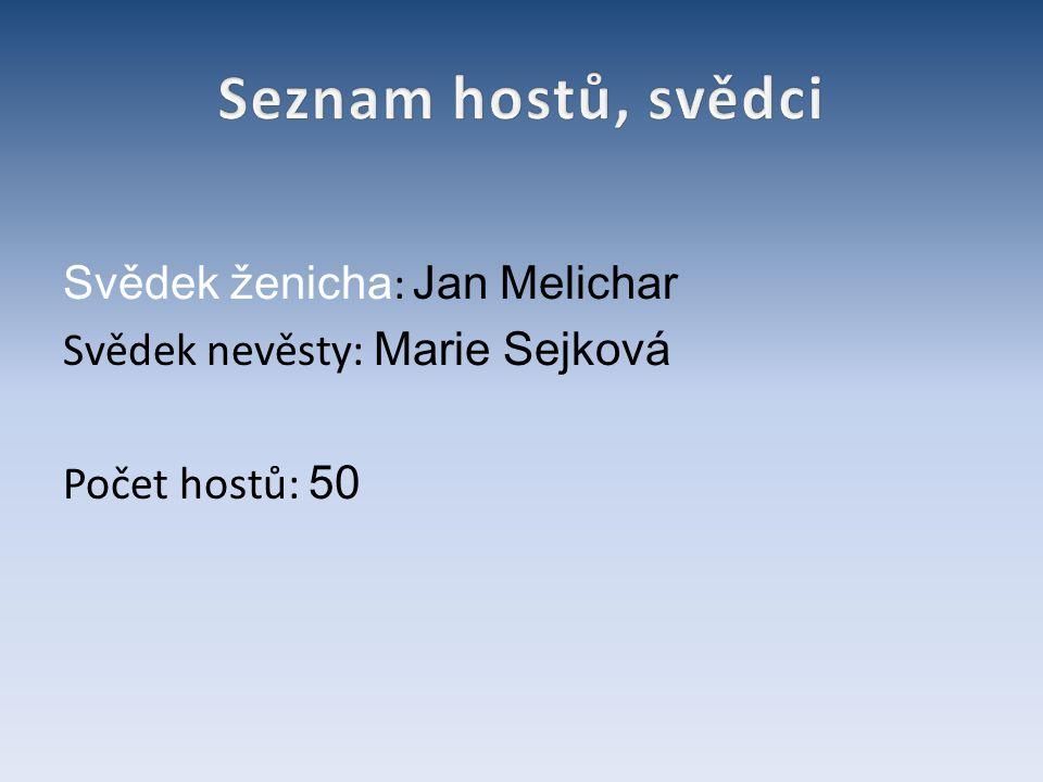 Seznam hostů, svědci Svědek ženicha: Jan Melichar Svědek nevěsty: Marie Sejková Počet hostů: 50