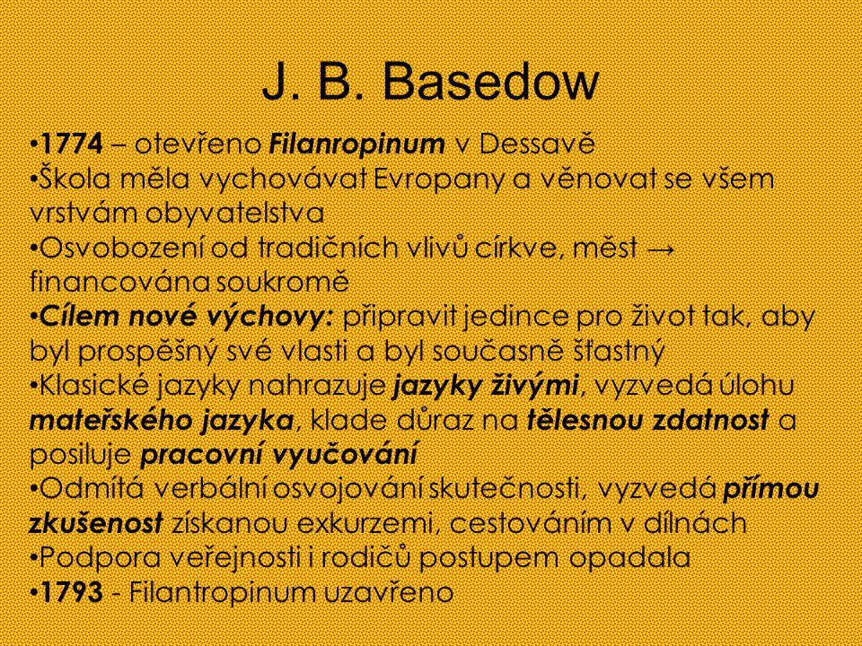 J. B. Basedow 1774 – otevřeno Filanropinum v Dessavě