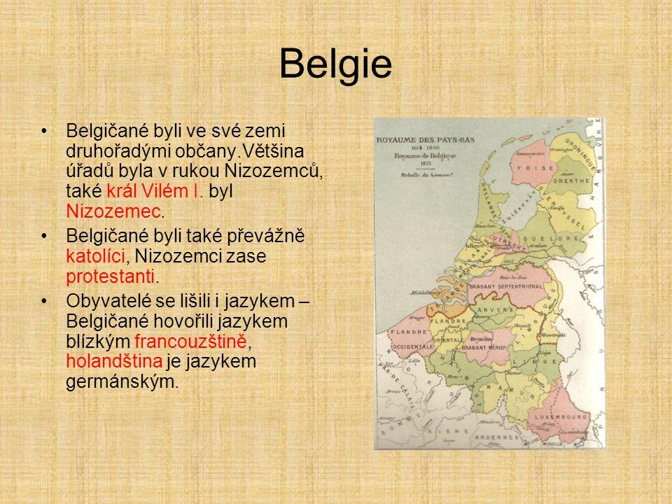 Belgie Belgičané byli ve své zemi druhořadými občany.Většina úřadů byla v rukou Nizozemců, také král Vilém I. byl Nizozemec.