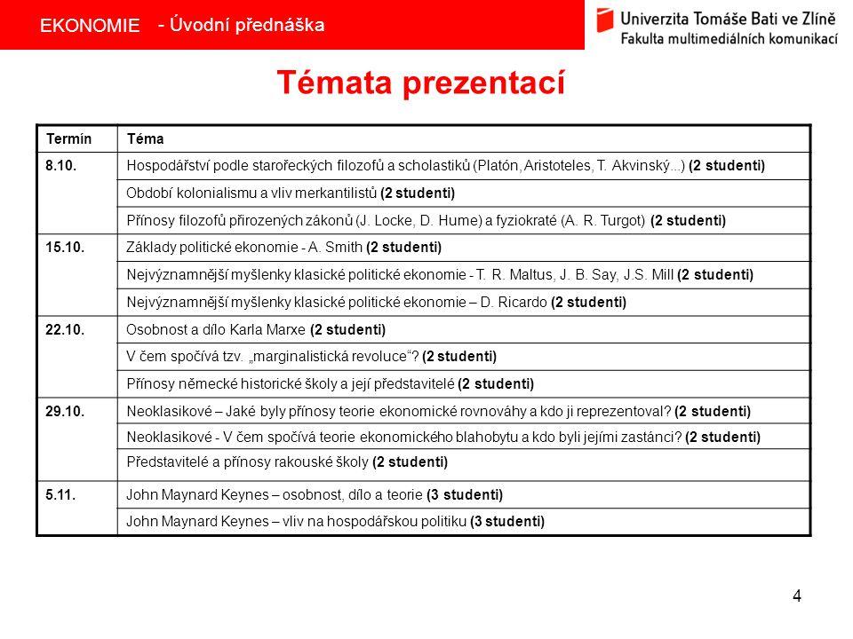 Témata prezentací - Úvodní přednáška Termín Téma 8.10.