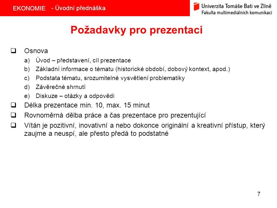 Požadavky pro prezentaci