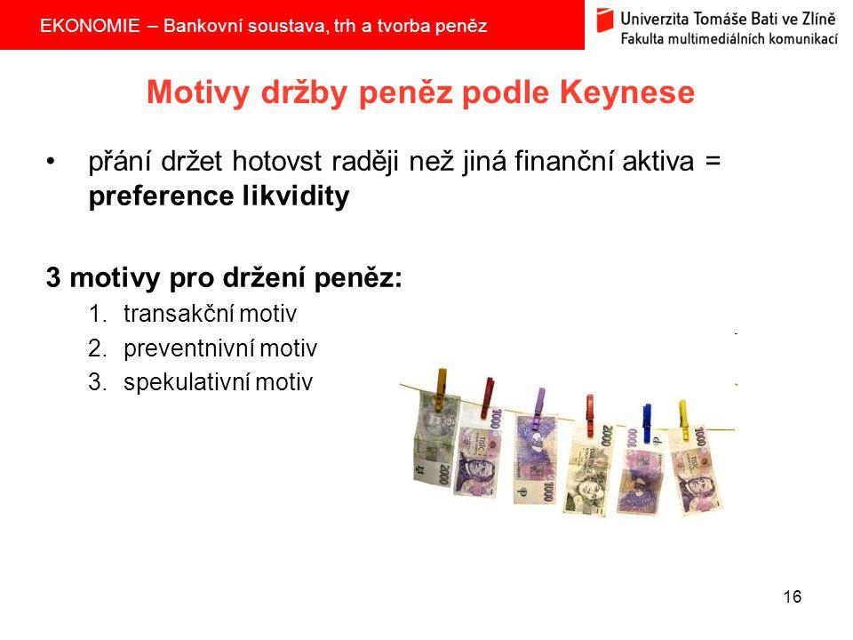 Motivy držby peněz podle Keynese