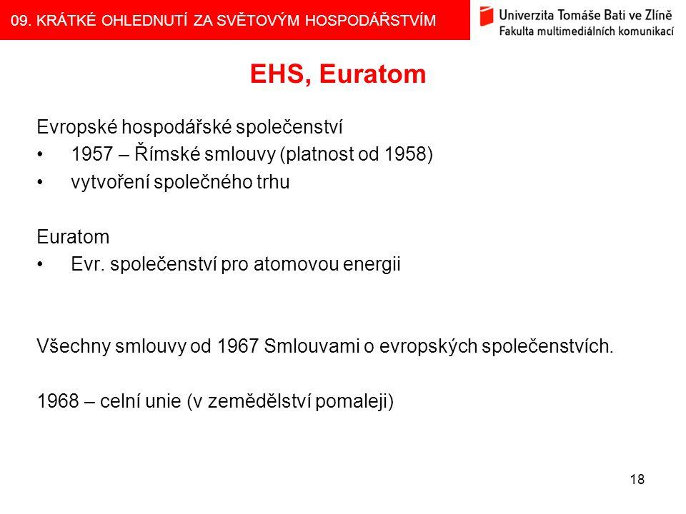 EHS, Euratom Evropské hospodářské společenství