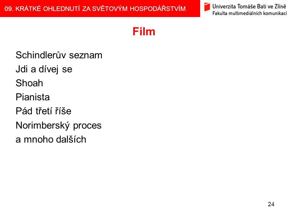 Film Schindlerův seznam Jdi a dívej se Shoah Pianista Pád třetí říše