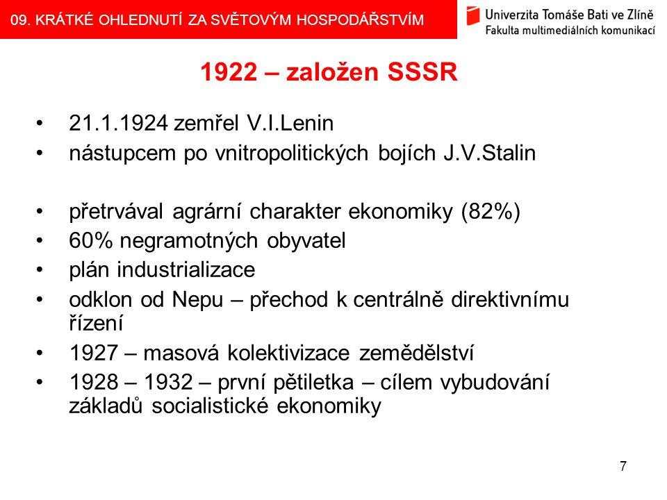 1922 – založen SSSR 21.1.1924 zemřel V.I.Lenin