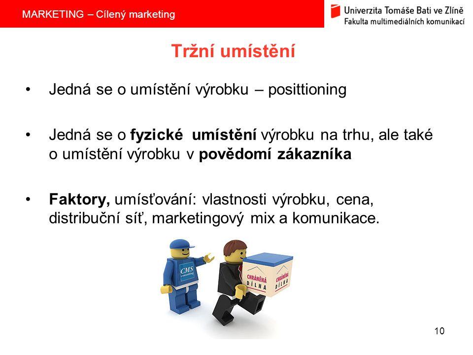 Tržní umístění Jedná se o umístění výrobku – posittioning