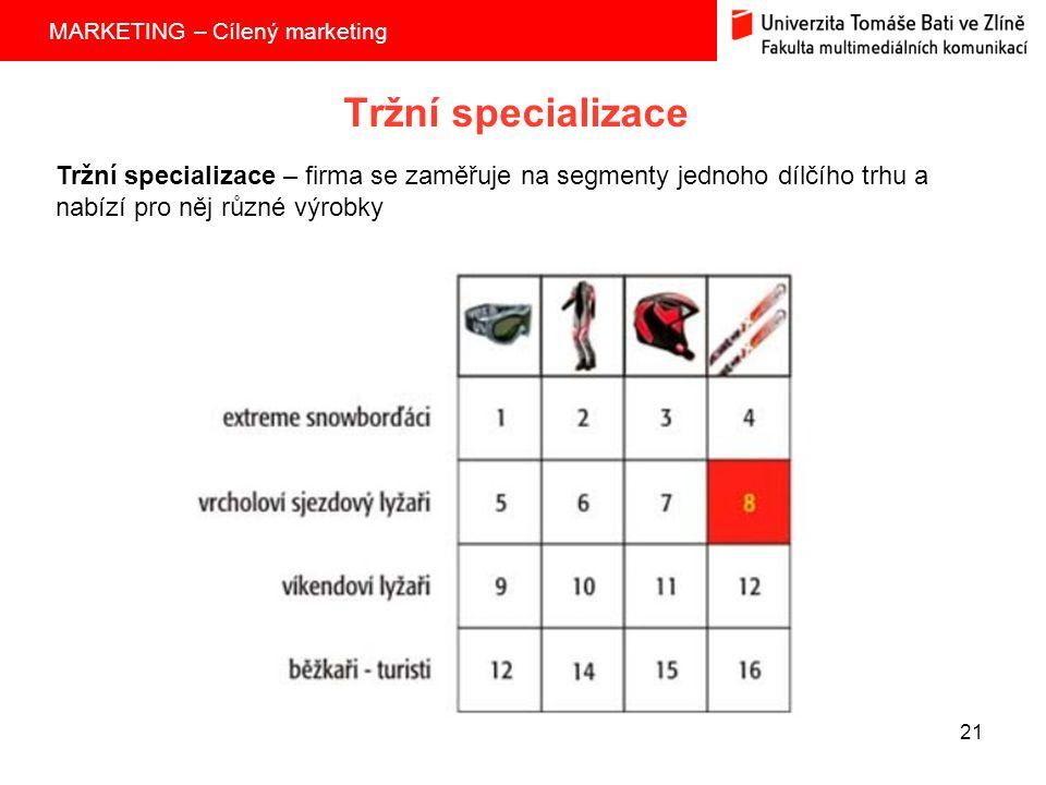 Tržní specializace Tržní specializace – firma se zaměřuje na segmenty jednoho dílčího trhu a nabízí pro něj různé výrobky.