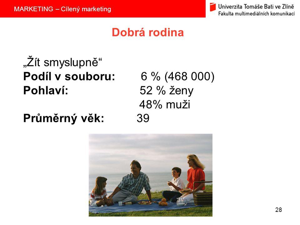 """Dobrá rodina """"Žít smyslupně Podíl v souboru: 6 % (468 000) Pohlaví: 52 % ženy."""