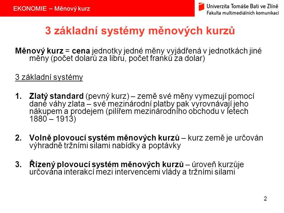 3 základní systémy měnových kurzů