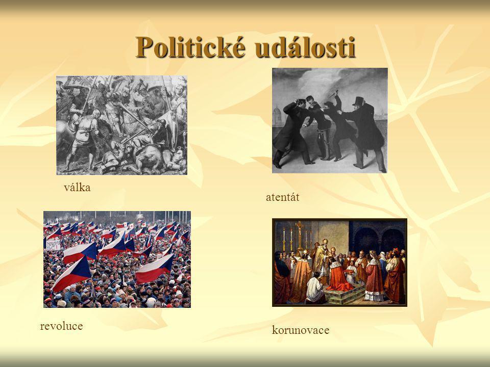 Politické události válka atentát revoluce korunovace