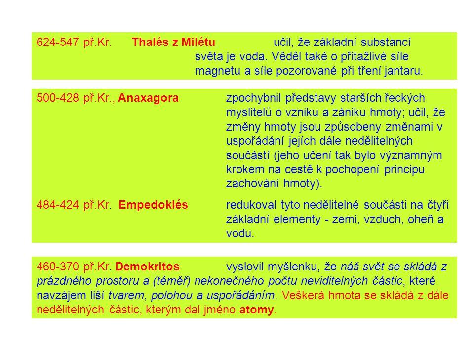 624-547 př. Kr. Thalés z Milétu. učil, že základní substancí